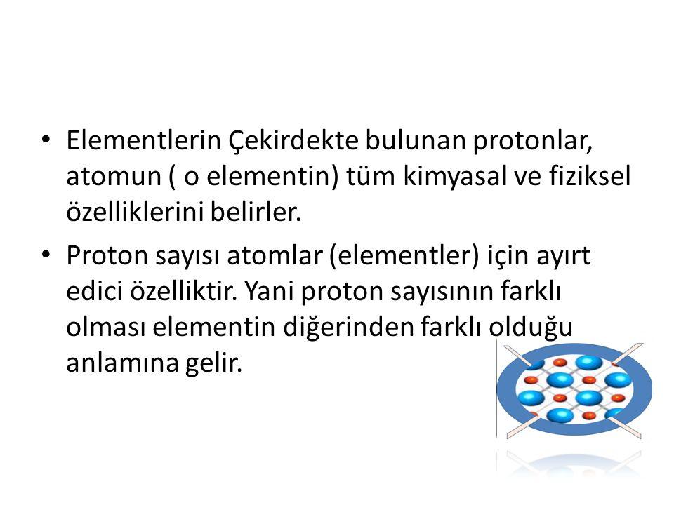 Elementlerin Çekirdekte bulunan protonlar, atomun ( o elementin) tüm kimyasal ve fiziksel özelliklerini belirler.