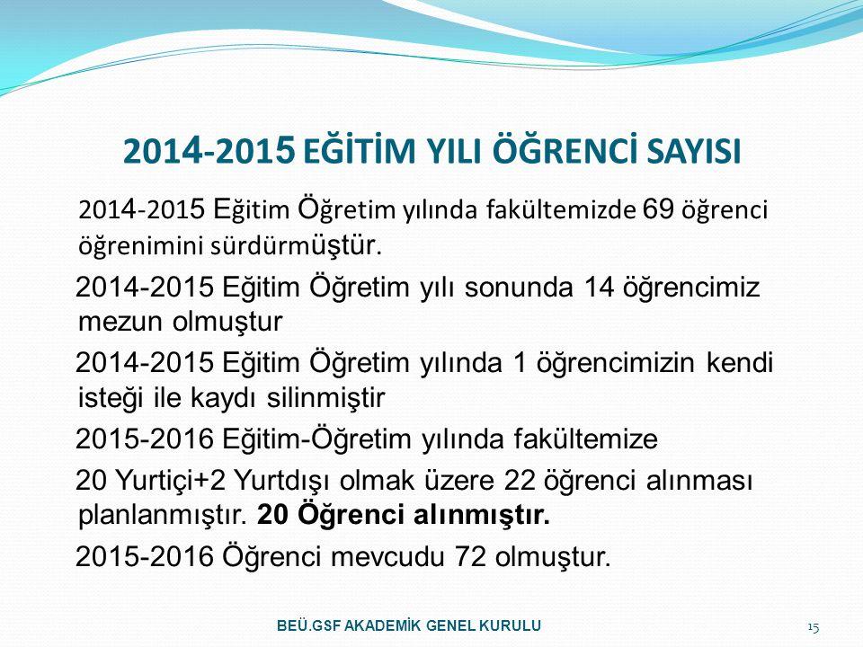 2014-2015 EĞİTİM YILI ÖĞRENCİ SAYISI