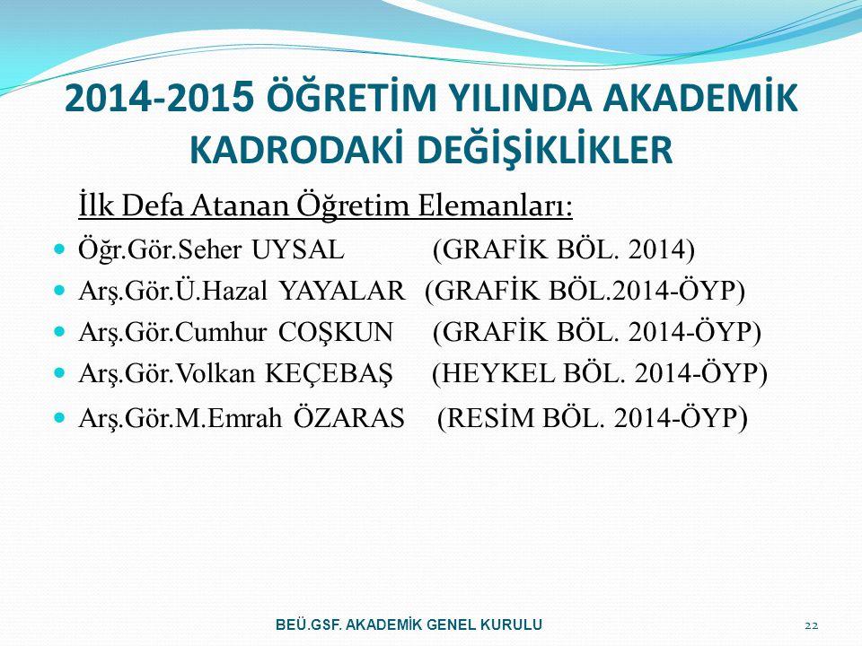 2014-2015 ÖĞRETİM YILINDA AKADEMİK KADRODAKİ DEĞİŞİKLİKLER