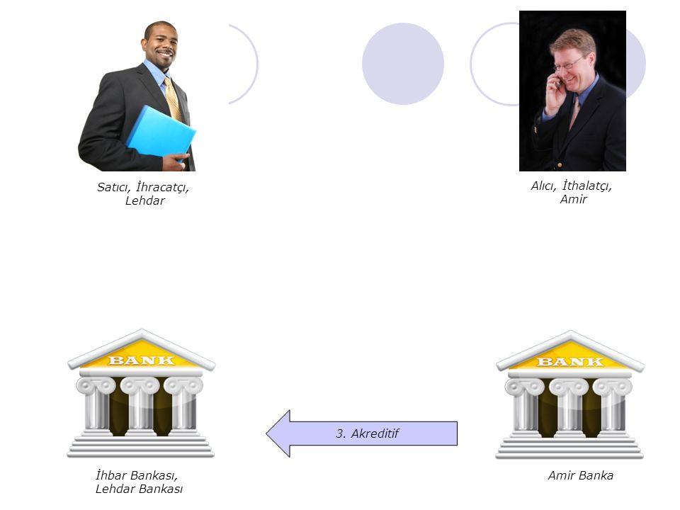 Satıcı, İhracatçı, Lehdar. Alıcı, İthalatçı, Amir. 3. Akreditif. İhbar Bankası, Lehdar Bankası.