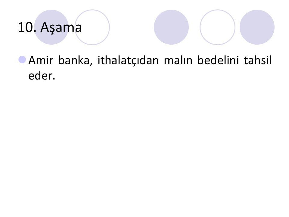 10. Aşama Amir banka, ithalatçıdan malın bedelini tahsil eder.