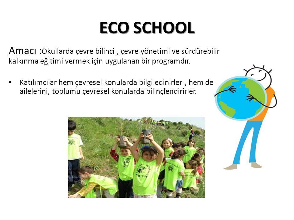 ECO SCHOOL Amacı :Okullarda çevre bilinci , çevre yönetimi ve sürdürebilir kalkınma eğitimi vermek için uygulanan bir programdır.