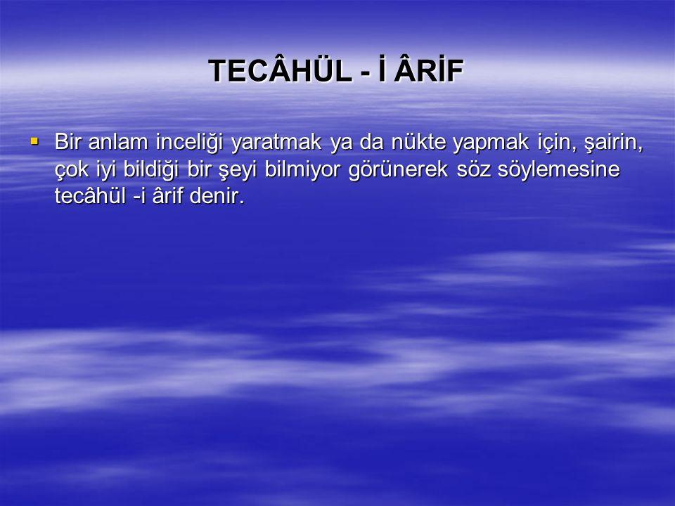 TECÂHÜL - İ ÂRİF