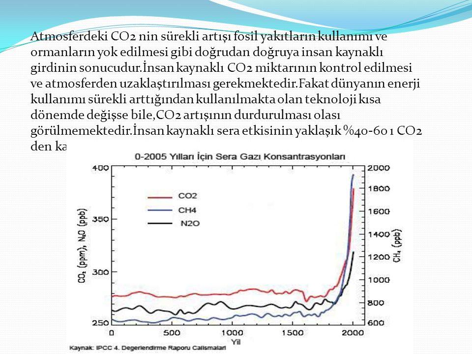 Atmosferdeki CO2 nin sürekli artışı fosil yakıtların kullanımı ve ormanların yok edilmesi gibi doğrudan doğruya insan kaynaklı girdinin sonucudur.İnsan kaynaklı CO2 miktarının kontrol edilmesi ve atmosferden uzaklaştırılması gerekmektedir.Fakat dünyanın enerji kullanımı sürekli arttığından kullanılmakta olan teknoloji kısa dönemde değişse bile,CO2 artışının durdurulması olası görülmemektedir.İnsan kaynaklı sera etkisinin yaklaşık %40-60 ı CO2 den kaynaklanmaktadır.