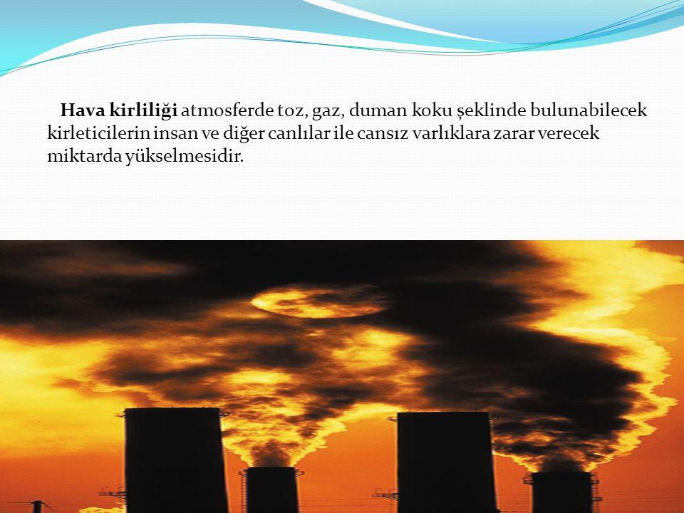 Hava kirliliği atmosferde toz, gaz, duman koku şeklinde bulunabilecek kirleticilerin insan ve diğer canlılar ile cansız varlıklara zarar verecek miktarda yükselmesidir.