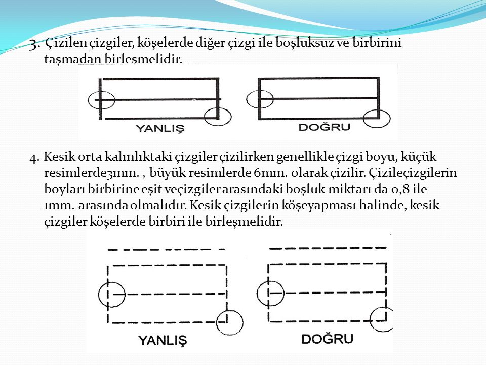 3. Çizilen çizgiler, köşelerde diğer çizgi ile boşluksuz ve birbirini taşmadan birleşmelidir.