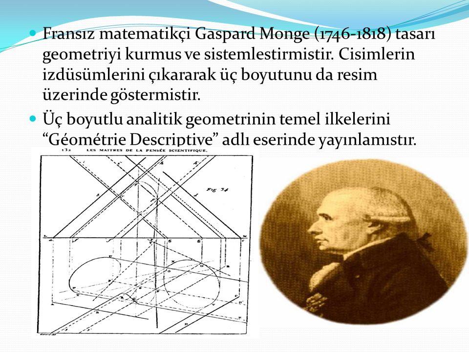 Fransız matematikçi Gaspard Monge (1746-1818) tasarı geometriyi kurmus ve sistemlestirmistir. Cisimlerin izdüsümlerini çıkararak üç boyutunu da resim üzerinde göstermistir.