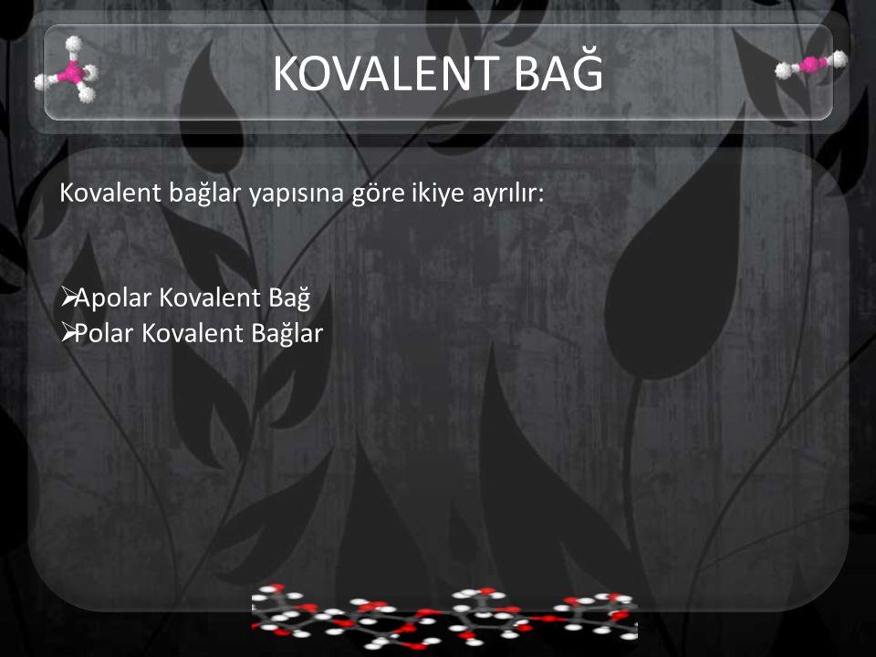 KOVALENT BAĞ Kovalent bağlar yapısına göre ikiye ayrılır: