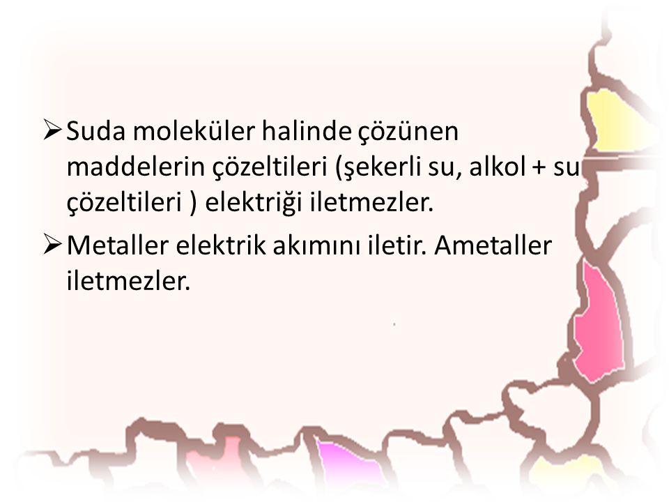 Suda moleküler halinde çözünen maddelerin çözeltileri (şekerli su, alkol + su çözeltileri ) elektriği iletmezler.