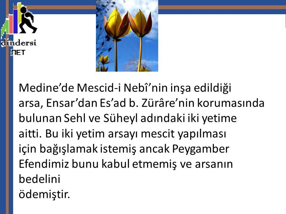 Medine'de Mescid-i Nebî'nin inşa edildiği arsa, Ensar'dan Es'ad b