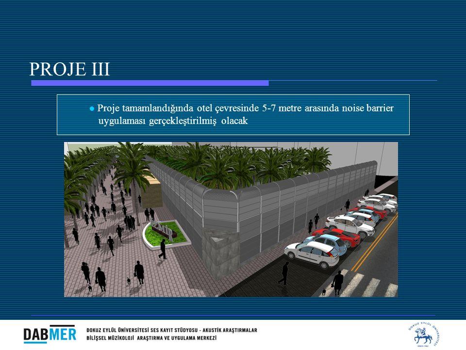 PROJE III ● Proje tamamlandığında otel çevresinde 5-7 metre arasında noise barrier.