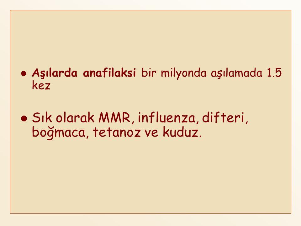 Sık olarak MMR, influenza, difteri, boğmaca, tetanoz ve kuduz.