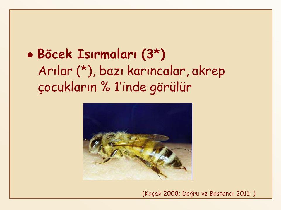 Arılar (*), bazı karıncalar, akrep çocukların % 1'inde görülür