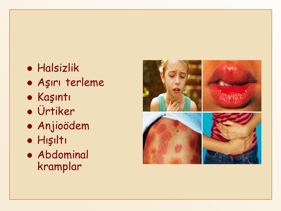 Halsizlik Aşırı terleme Kaşıntı Ürtiker Anjioödem Hışıltı Abdominal kramplar