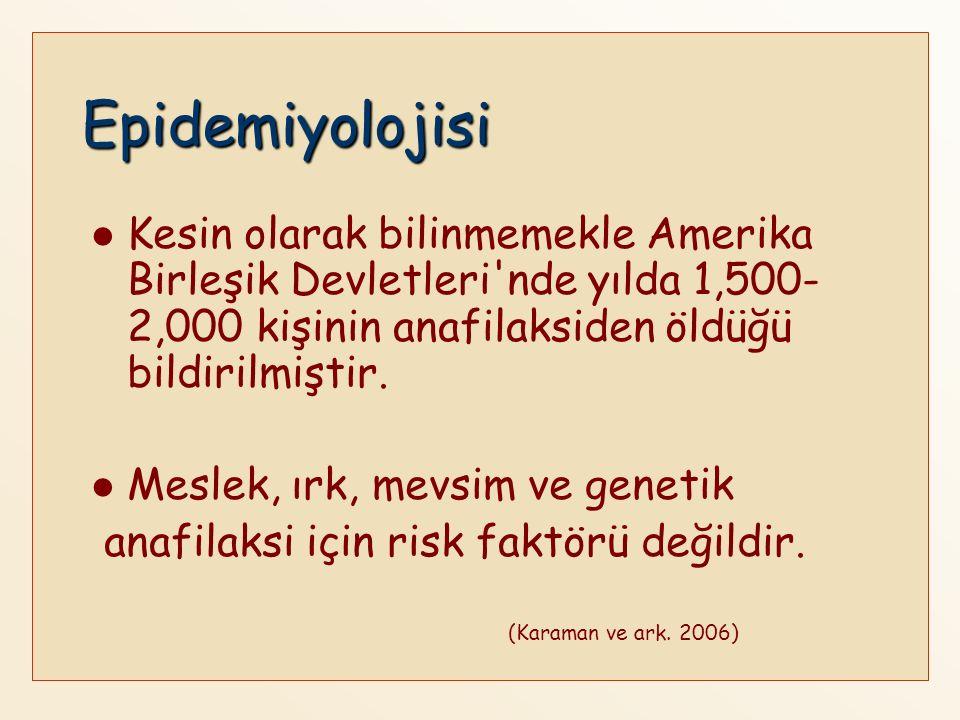 Epidemiyolojisi Kesin olarak bilinmemekle Amerika Birleşik Devletleri nde yılda 1,500-2,000 kişinin anafilaksiden öldüğü bildirilmiştir.