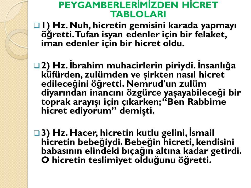 PEYGAMBERLERİMİZDEN HİCRET TABLOLARI