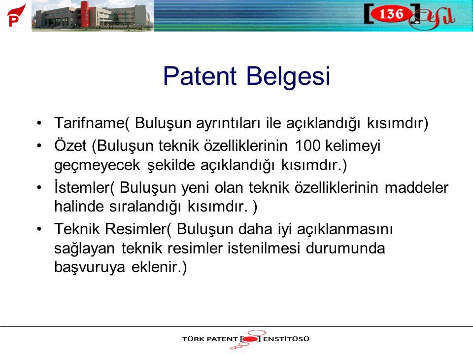 Patent Belgesi Tarifname( Buluşun ayrıntıları ile açıklandığı kısımdır)
