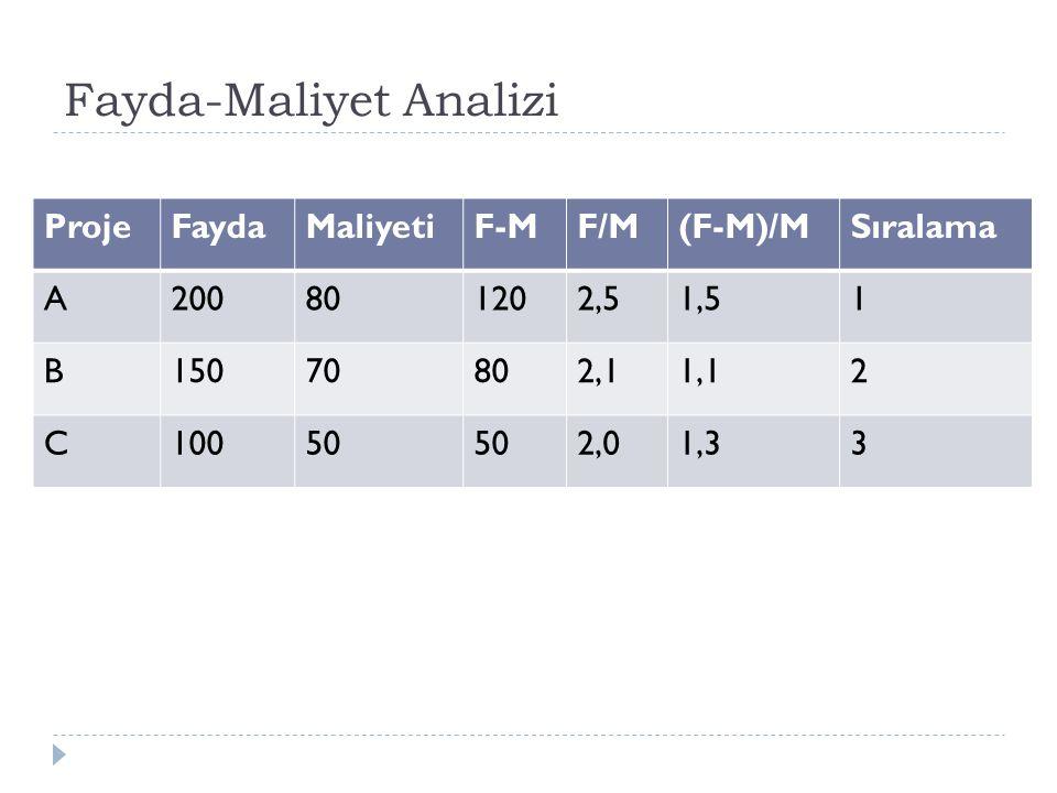 Fayda-Maliyet Analizi