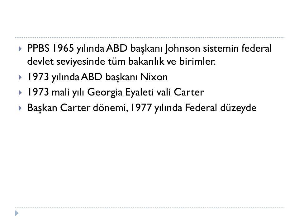 PPBS 1965 yılında ABD başkanı Johnson sistemin federal devlet seviyesinde tüm bakanlık ve birimler.