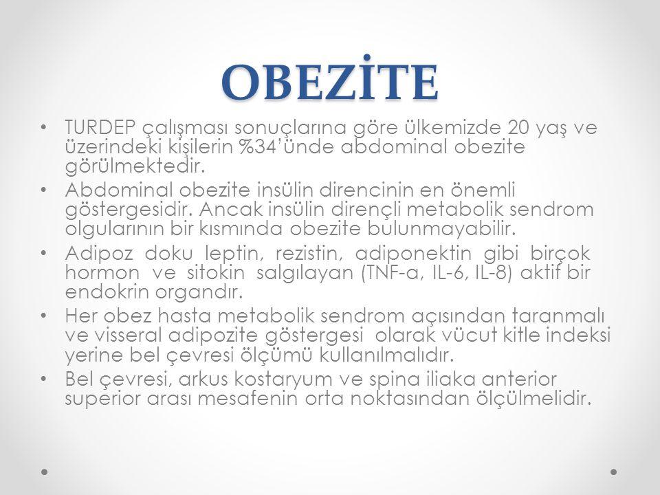 OBEZİTE TURDEP çalışması sonuçlarına göre ülkemizde 20 yaş ve üzerindeki kişilerin %34'ünde abdominal obezite görülmektedir.
