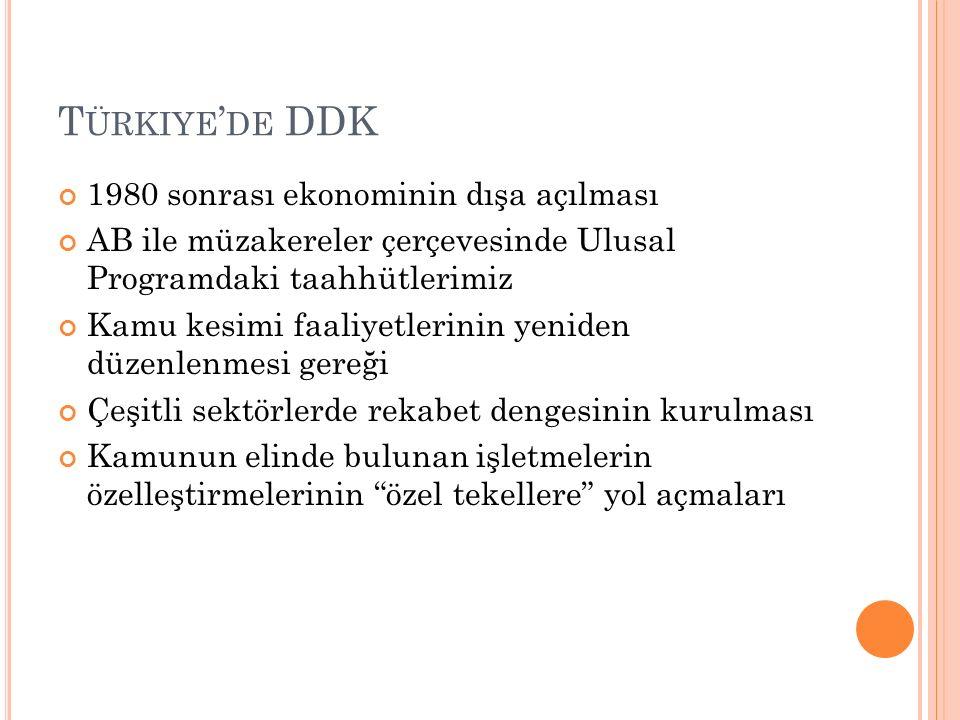 Türkiye'de DDK 1980 sonrası ekonominin dışa açılması