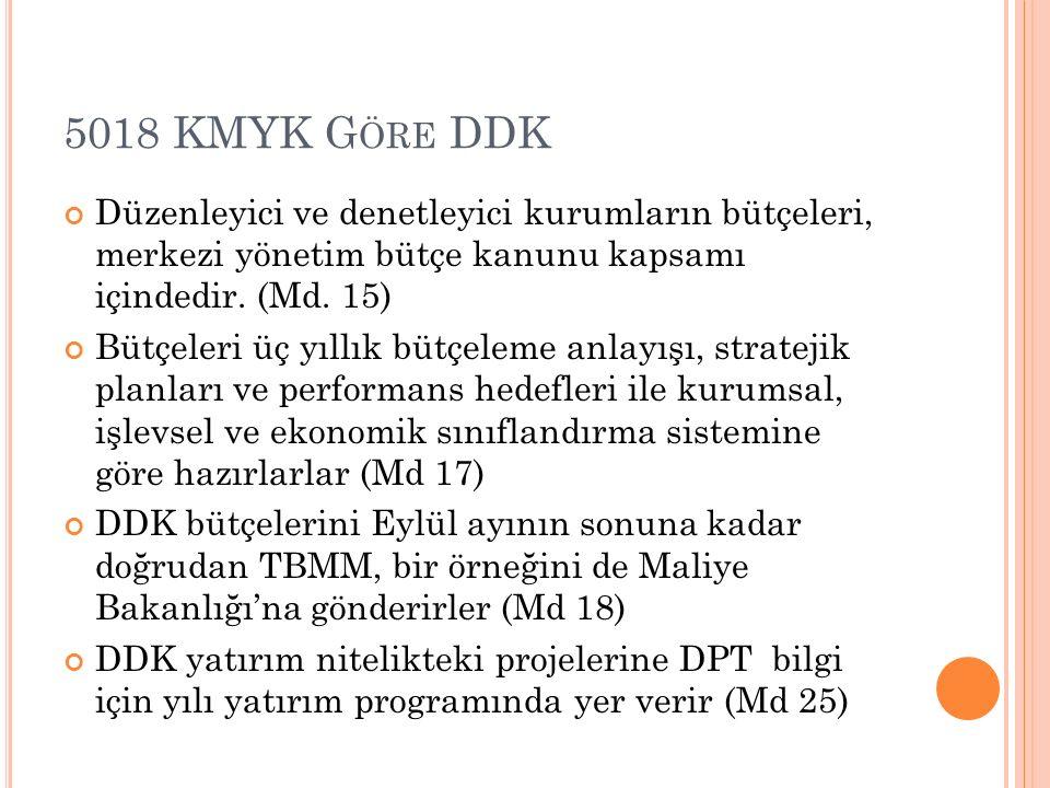 5018 KMYK Göre DDK Düzenleyici ve denetleyici kurumların bütçeleri, merkezi yönetim bütçe kanunu kapsamı içindedir. (Md. 15)