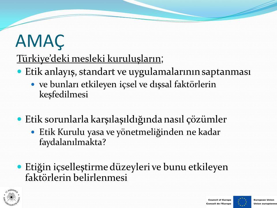 AMAÇ Türkiye'deki mesleki kuruluşların;