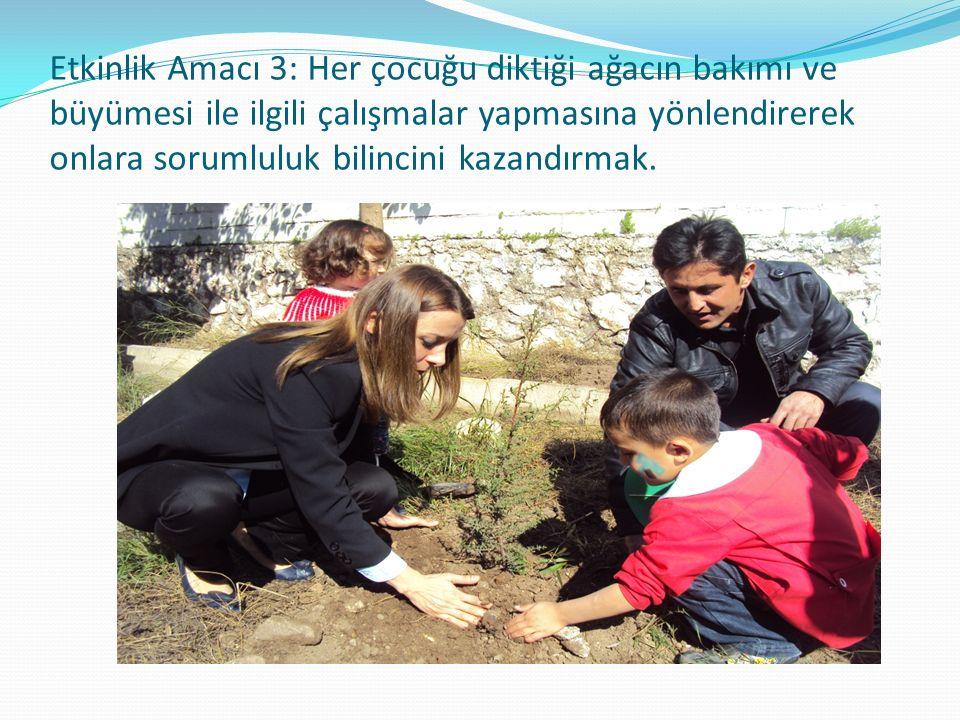 Etkinlik Amacı 3: Her çocuğu diktiği ağacın bakımı ve büyümesi ile ilgili çalışmalar yapmasına yönlendirerek onlara sorumluluk bilincini kazandırmak.