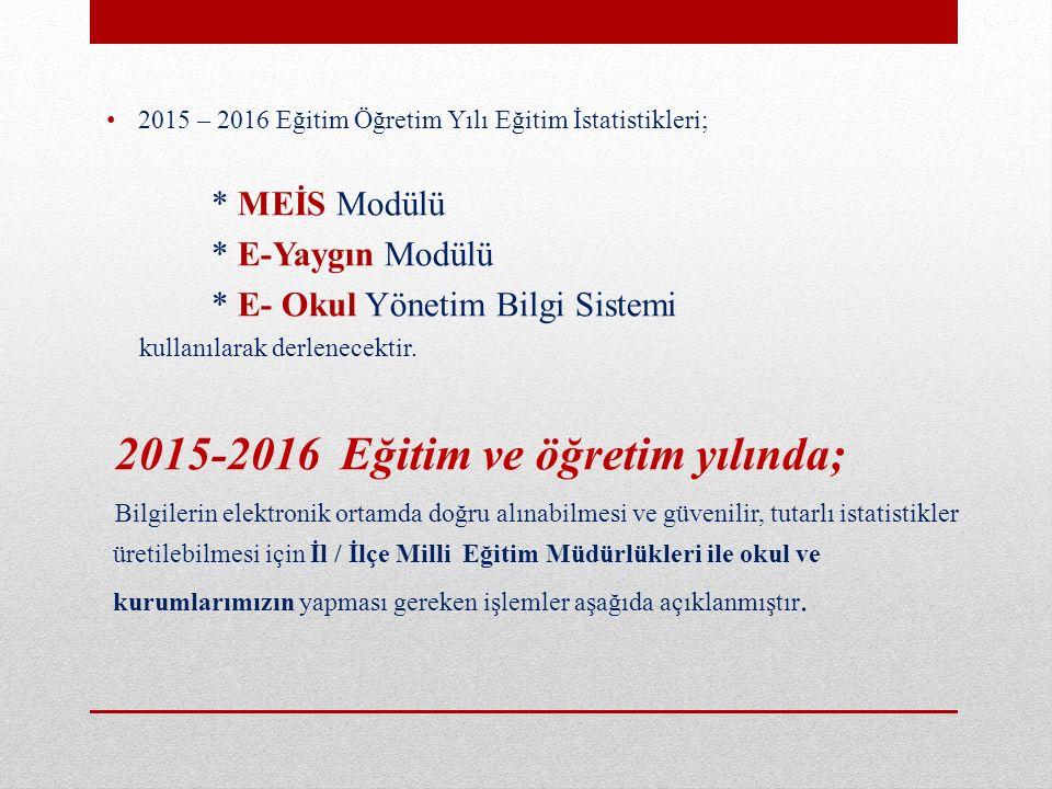 * E- Okul Yönetim Bilgi Sistemi