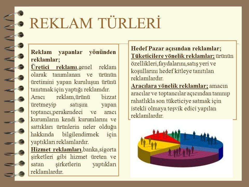 REKLAM TÜRLERİ Hedef Pazar açısından reklamlar;