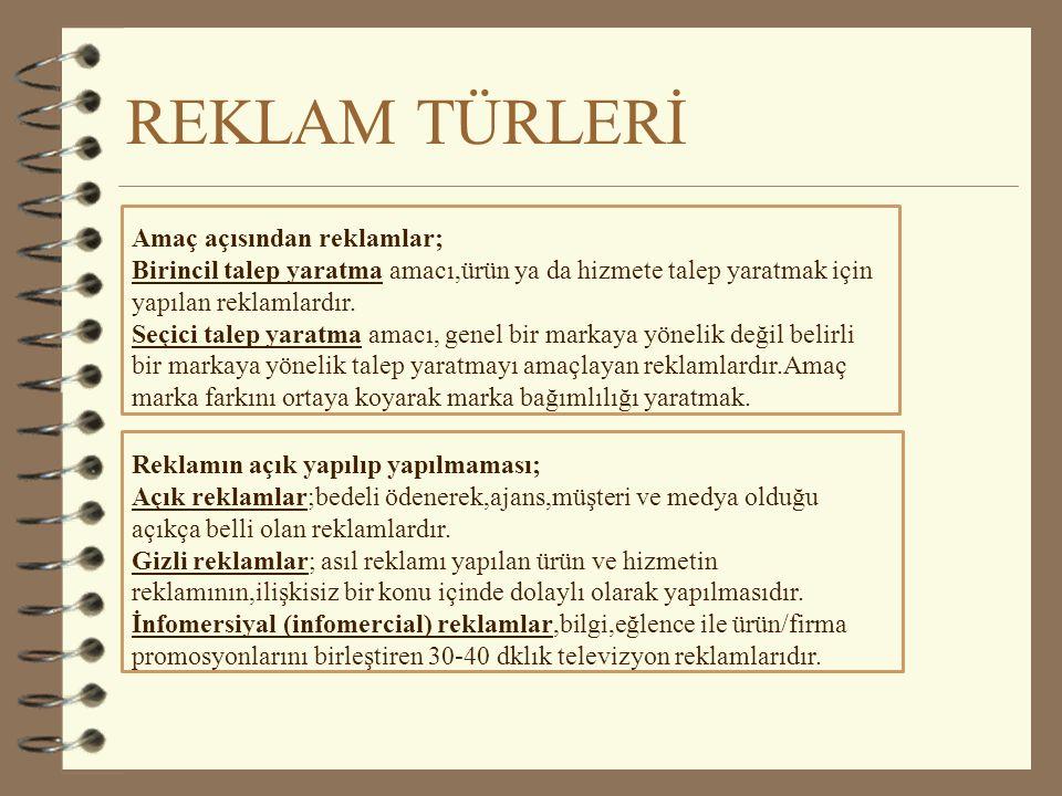 REKLAM TÜRLERİ Amaç açısından reklamlar;