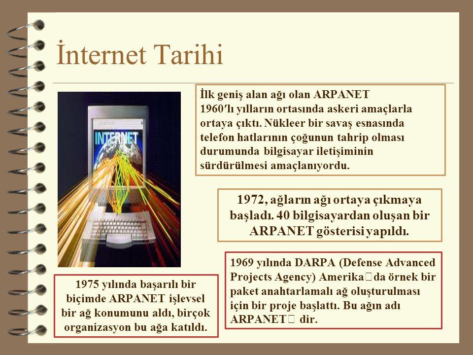 İnternet Tarihi İlk geniş alan ağı olan ARPANET.