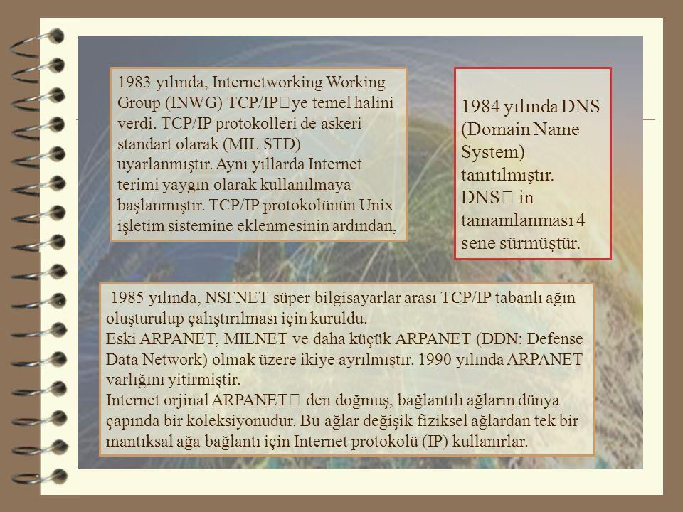 1983 yılında, Internetworking Working Group (INWG) TCP/IP'ye temel halini verdi. TCP/IP protokolleri de askeri standart olarak (MIL STD) uyarlanmıştır. Aynı yıllarda Internet terimi yaygın olarak kullanılmaya başlanmıştır. TCP/IP protokolünün Unix işletim sistemine eklenmesinin ardından,