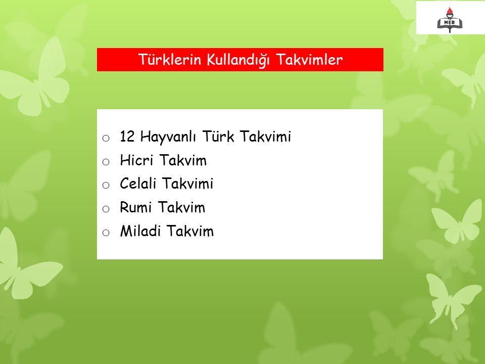 Türklerin Kullandığı Takvimler