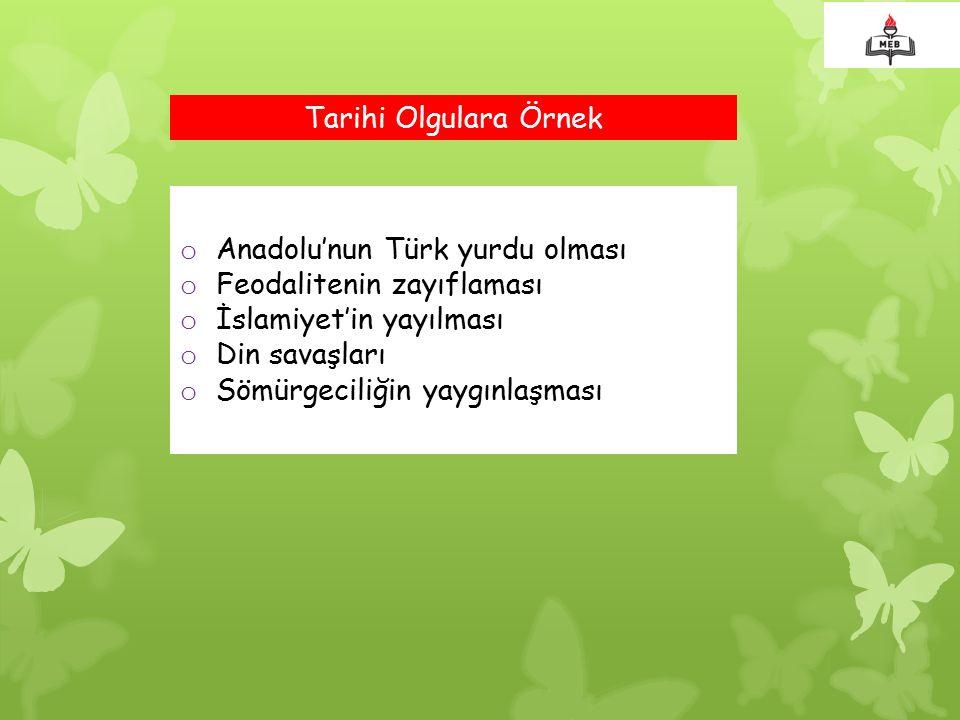 Tarihi Olgulara Örnek Anadolu'nun Türk yurdu olması. Feodalitenin zayıflaması. İslamiyet'in yayılması.