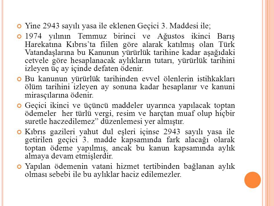 Yine 2943 sayılı yasa ile eklenen Geçici 3. Maddesi ile;