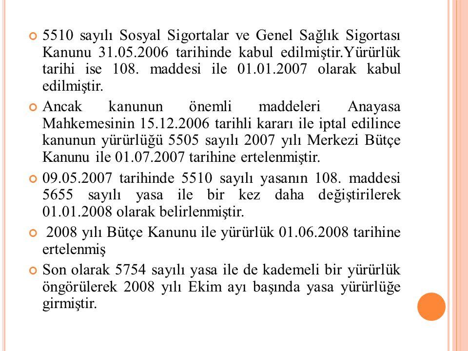 5510 sayılı Sosyal Sigortalar ve Genel Sağlık Sigortası Kanunu 31. 05