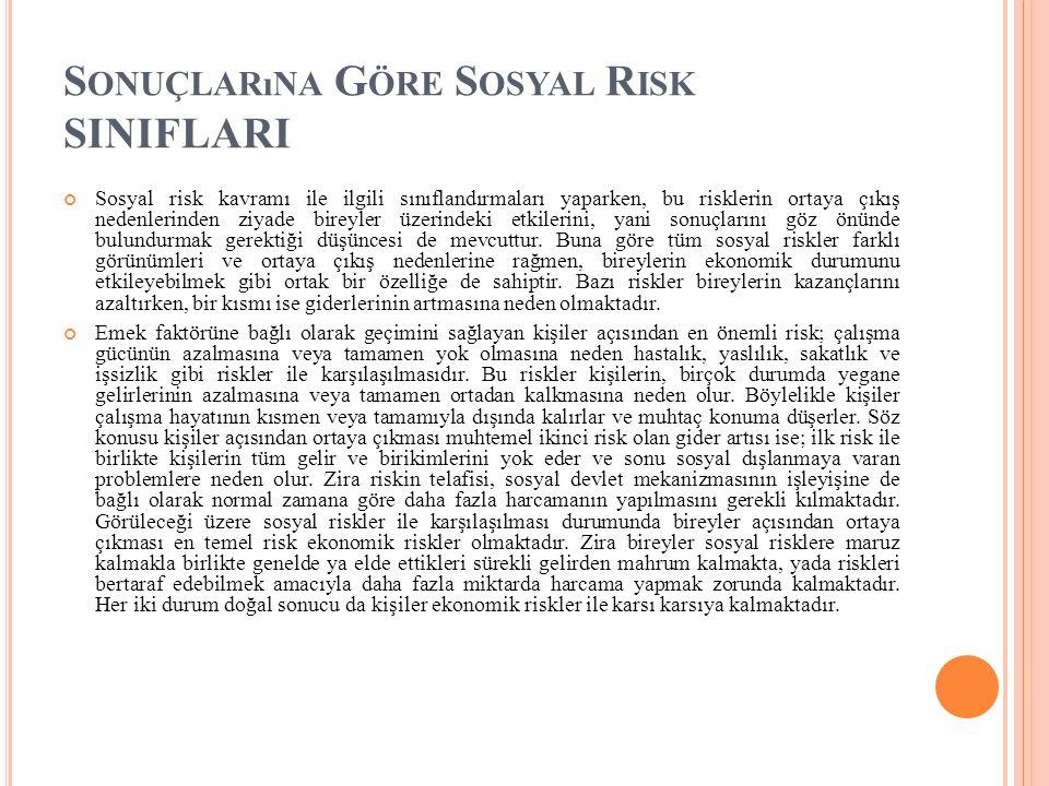 Sonuçlarına Göre Sosyal Risk SINIFLARI