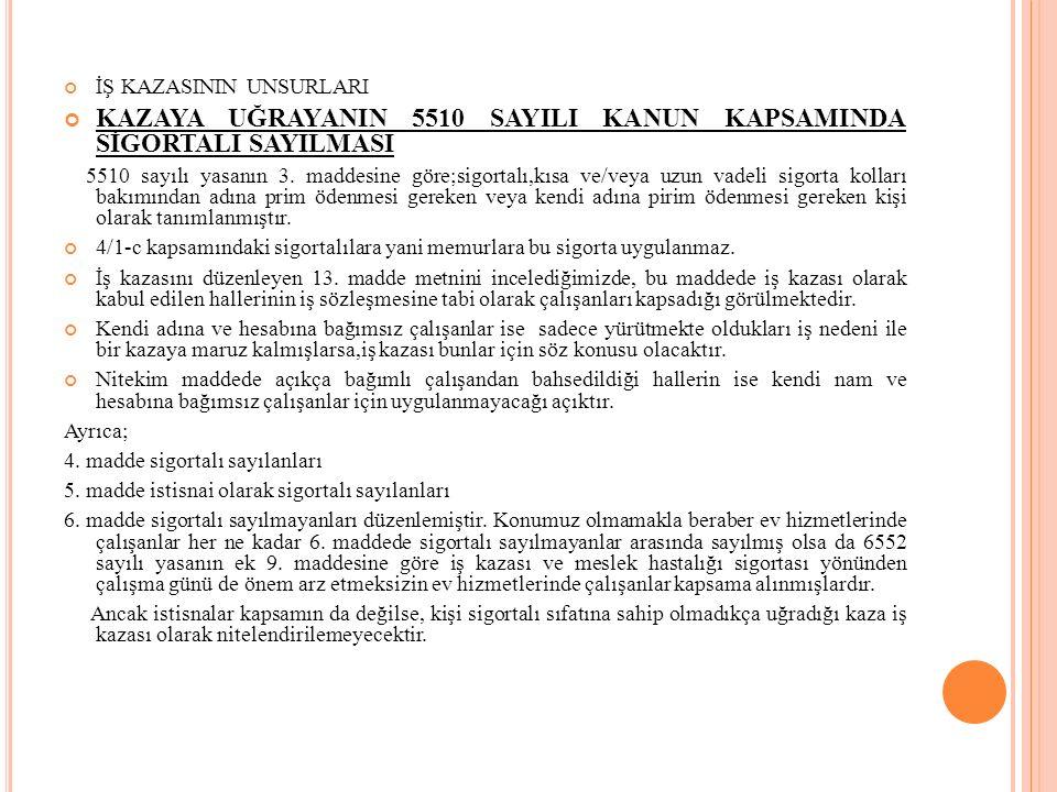 KAZAYA UĞRAYANIN 5510 SAYILI KANUN KAPSAMINDA SİGORTALI SAYILMASI