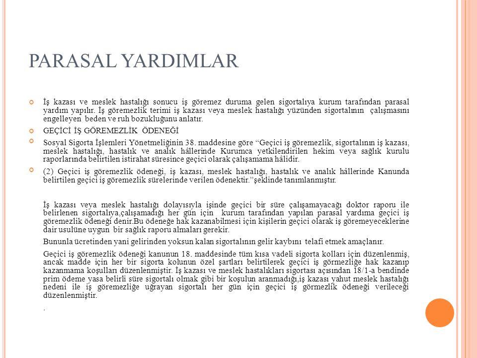 PARASAL YARDIMLAR