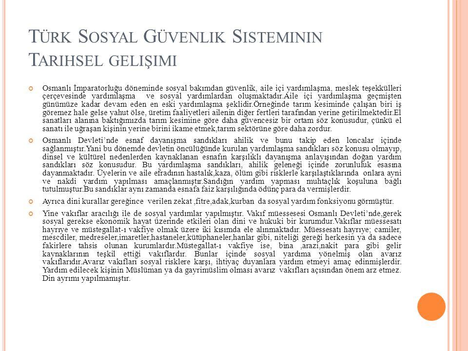 Türk Sosyal Güvenlik Sisteminin Tarihsel gelişimi