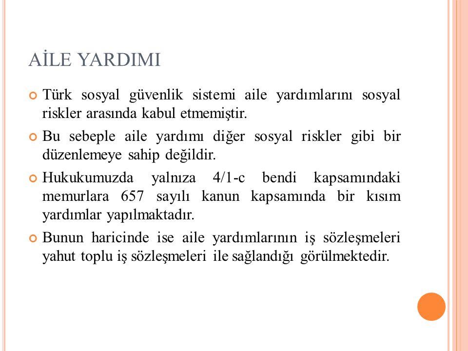 AİLE YARDIMI Türk sosyal güvenlik sistemi aile yardımlarını sosyal riskler arasında kabul etmemiştir.