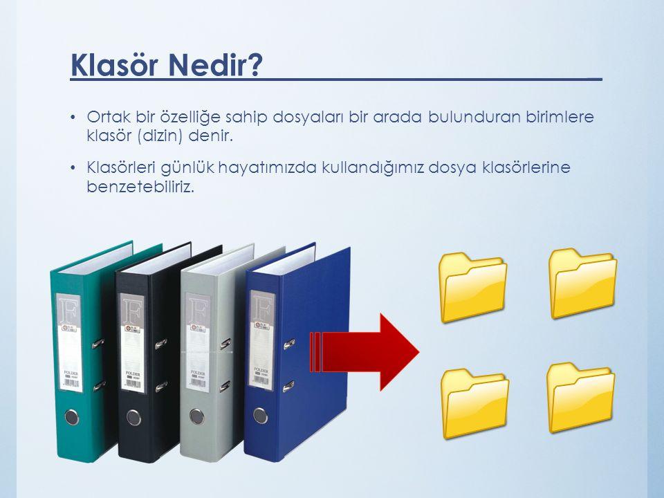Klasör Nedir _ Ortak bir özelliğe sahip dosyaları bir arada bulunduran birimlere klasör (dizin) denir.