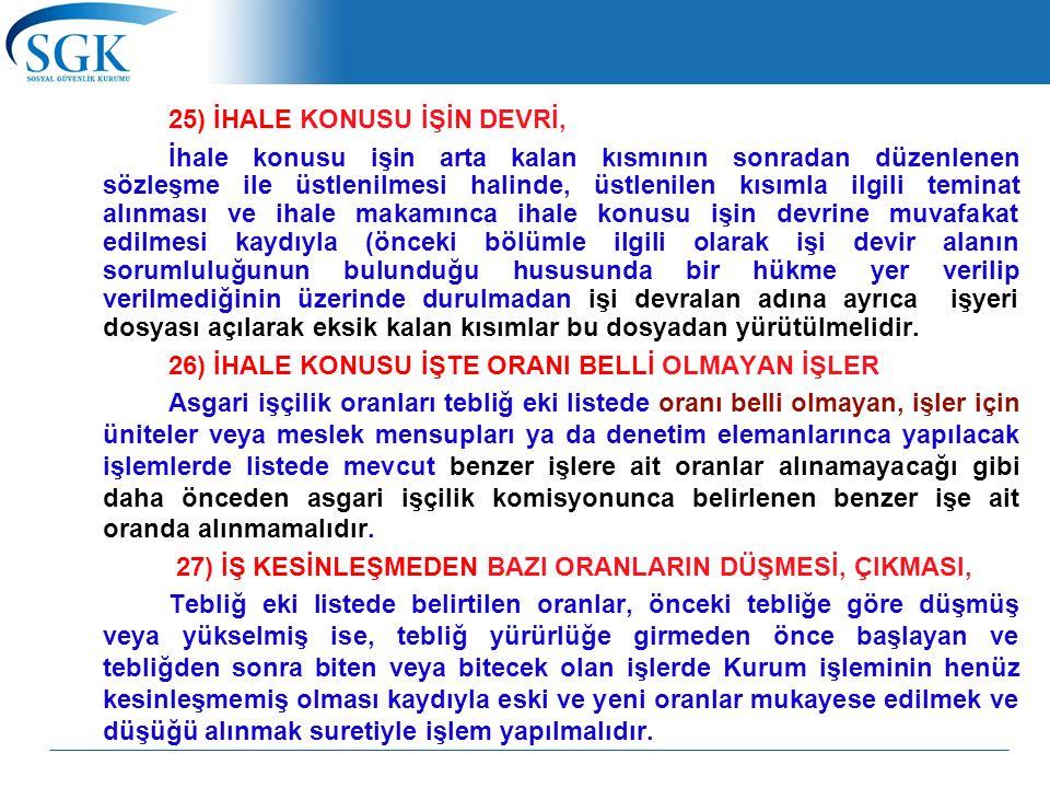 25) İHALE KONUSU İŞİN DEVRİ,