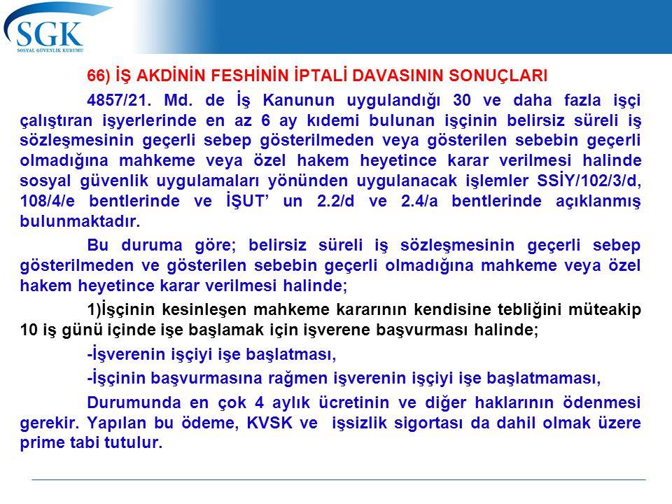 66) İŞ AKDİNİN FESHİNİN İPTALİ DAVASININ SONUÇLARI 4857/21. Md