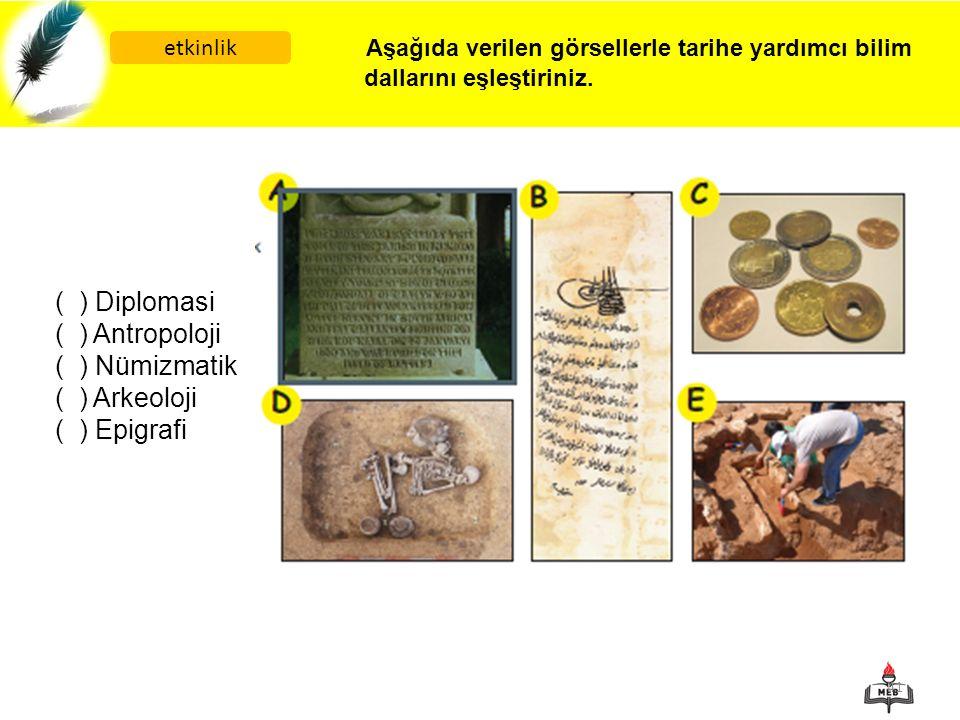 ( ) Diplomasi ( ) Antropoloji ( ) Nümizmatik ( ) Arkeoloji