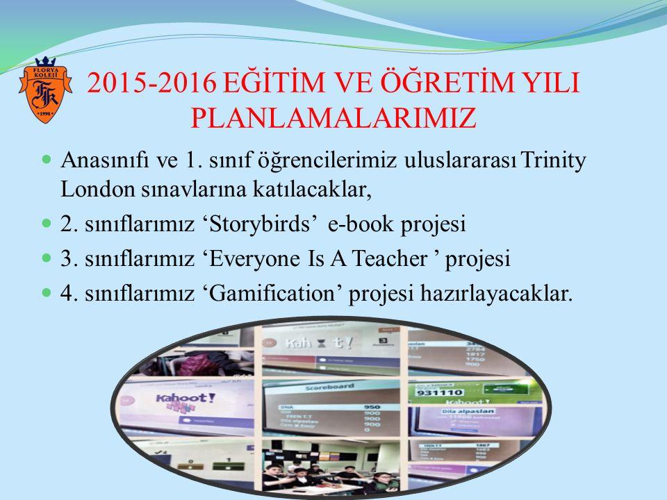 2015-2016 EĞİTİM VE ÖĞRETİM YILI PLANLAMALARIMIZ