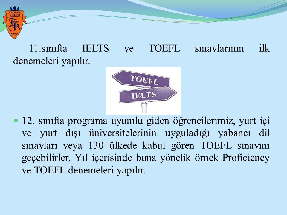 11.sınıfta IELTS ve TOEFL sınavlarının ilk denemeleri yapılır.