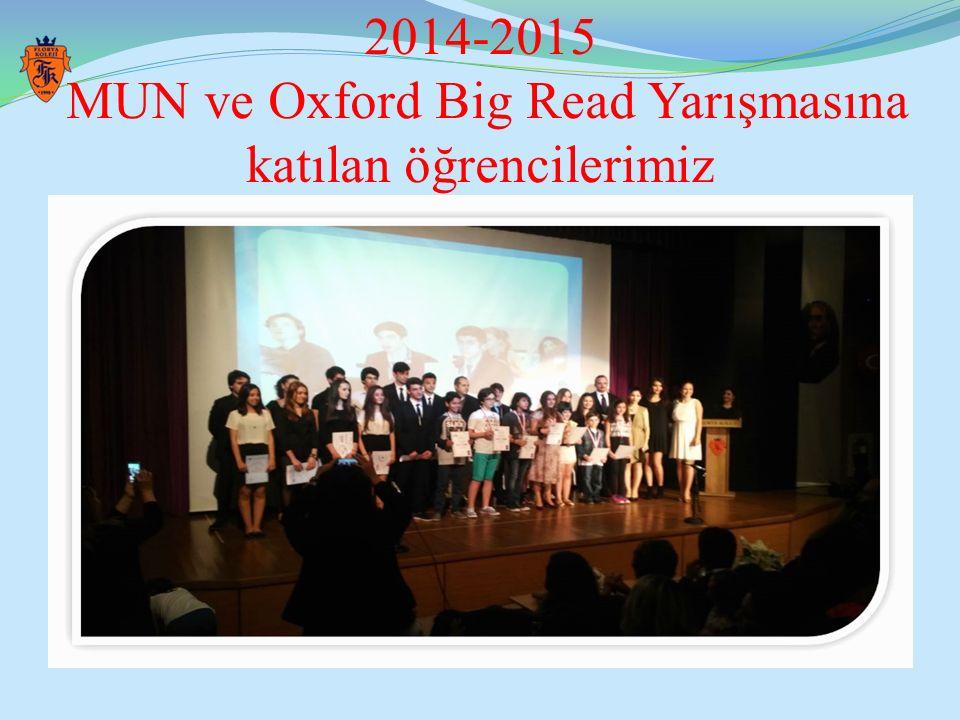 2014-2015 MUN ve Oxford Big Read Yarışmasına katılan öğrencilerimiz