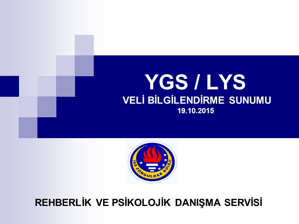 YGS / LYS VELİ BİLGİLENDİRME SUNUMU 19.10.2015